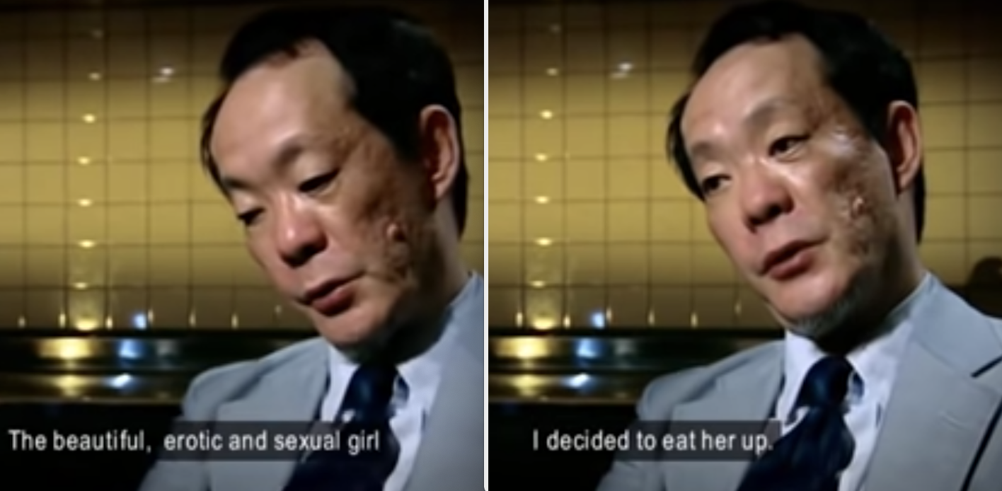 Issei Sagawa being interviewed and talking about what he did to one of his victims