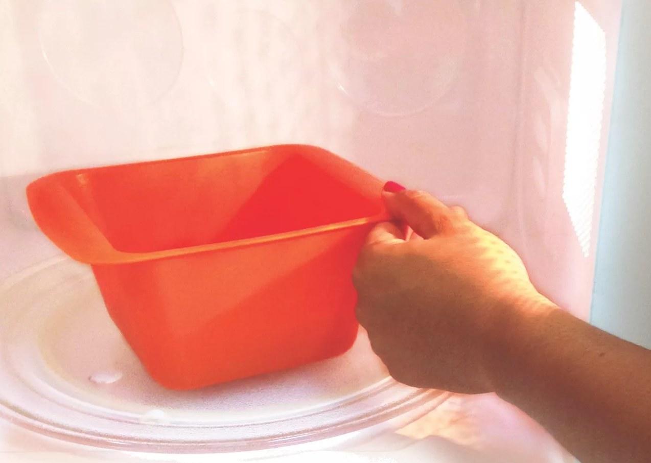 The microwavable rapid mac cooker in orange
