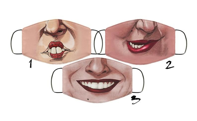 Three masks, each with a different Sanderson Sister mouth