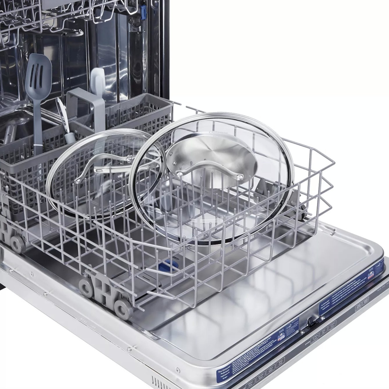 The 11 inch clear glass cover in a dishwasher