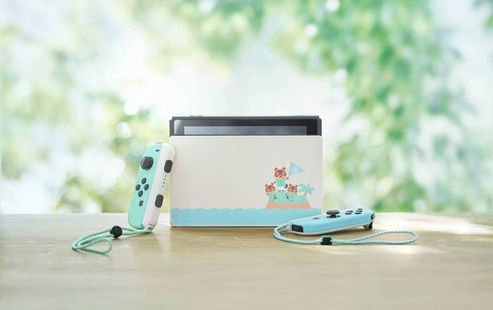 The Nintendo Switch featuring the two Animal Crossings New Horizons controllers and dock