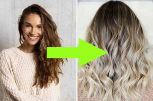 picture of a girl with brown hair and then with blonde balayage highlights