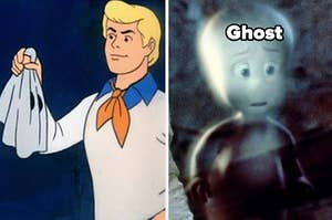 fred holding a mask and casper the friendly ghost
