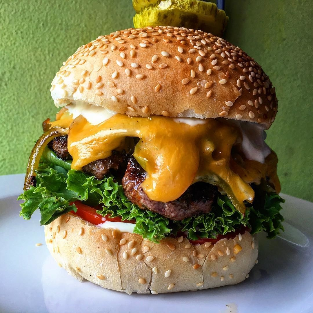 A burger from The Pink Bicycle