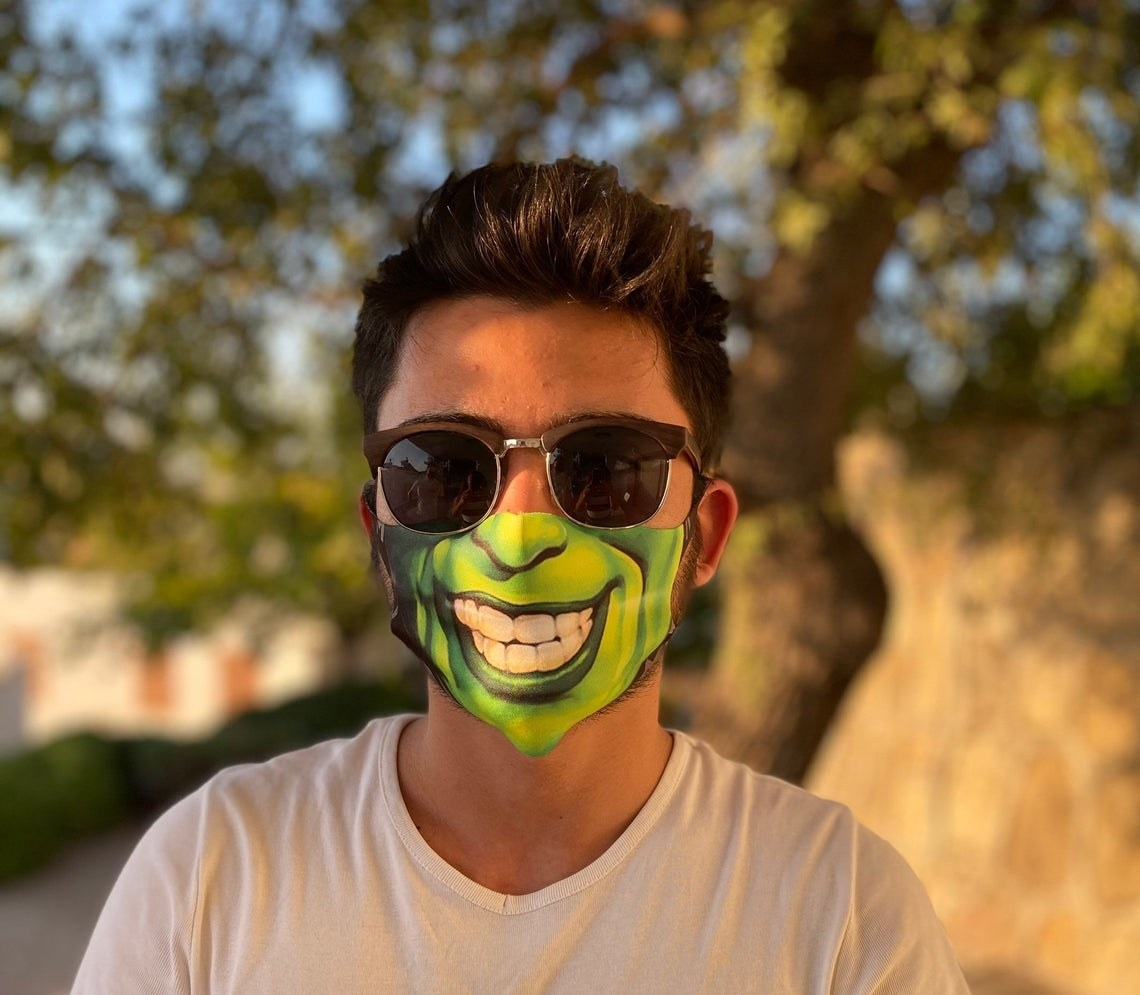 Green half face from The Mask