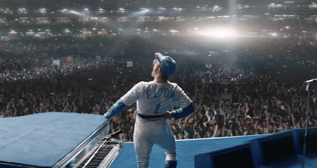 Elton on Stage in his bedazzled Dodgers outfit