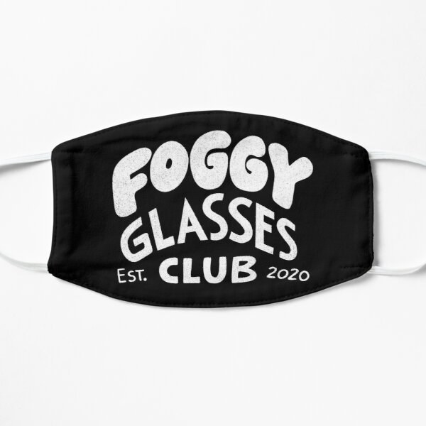 """Black mask with white words saying """"Foggy Glass Club Est. 2020"""""""