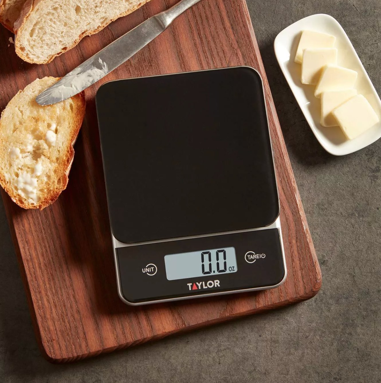 The glass top food scale in black with glass top