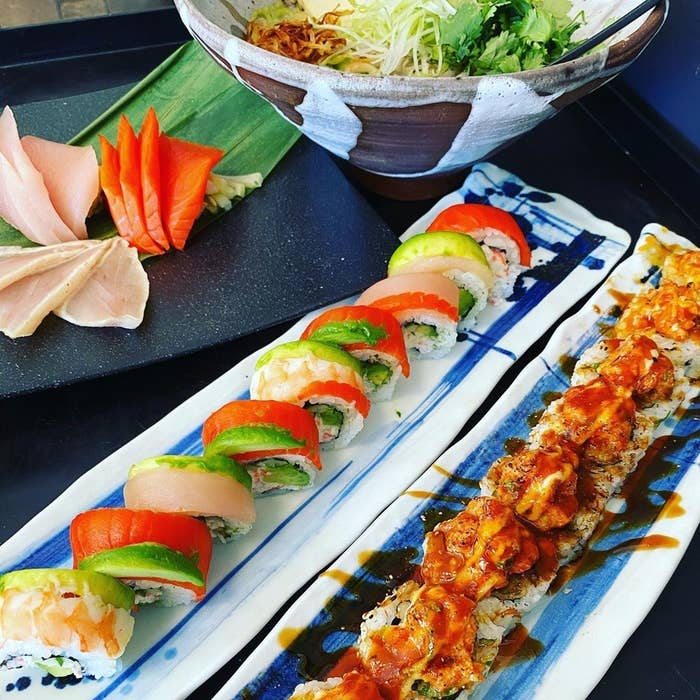 two maki rolls and a salad