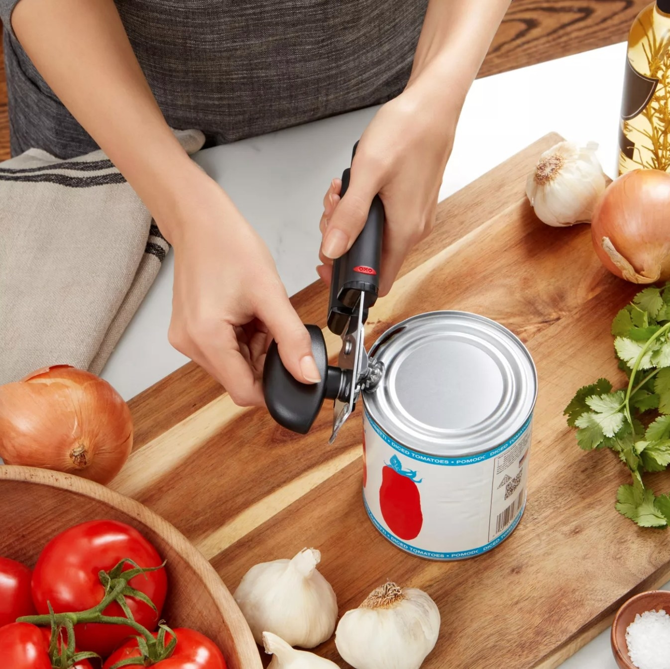 The soft handled can opener in black