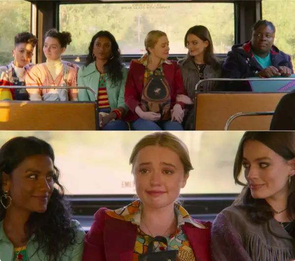 Amy tears up as all the girls sit on the bus with her