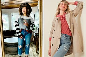 On the left, a reviewer in a striped sweater. On the right, a model in a trenchcoat
