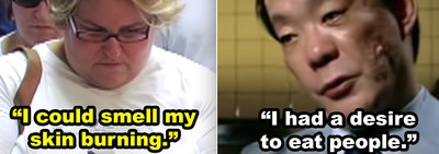 SIde-by-side of Alicia Esteve Head talking about what it was like being in the Twin Towers on 9/11, and cannibal Iseei Sagawa admitting that he liked eating people
