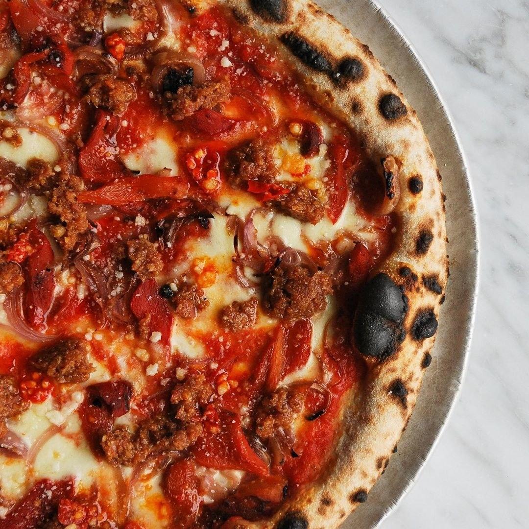 A sausage pizza
