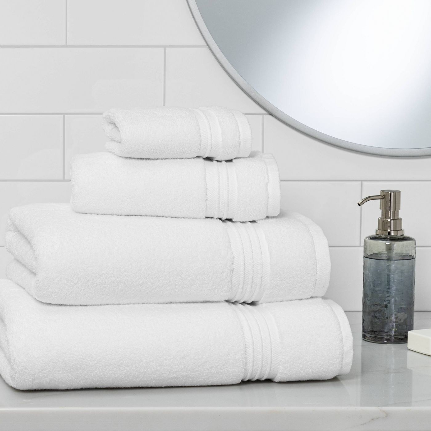 The bath towels in various sizes