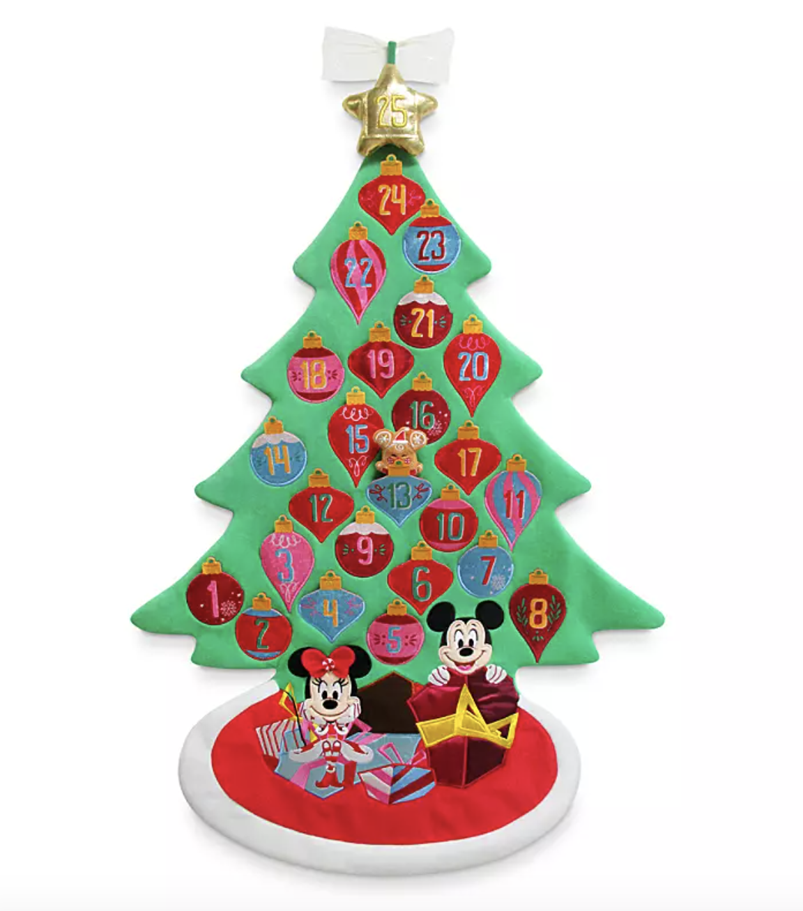 the felt green tree with retro-styled ornaments on it that double as pockets with mickey and minnie sitting beneath it