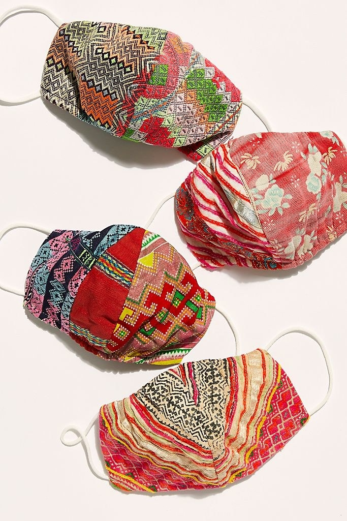 Patchwork masks in varied warm-toned fabrics