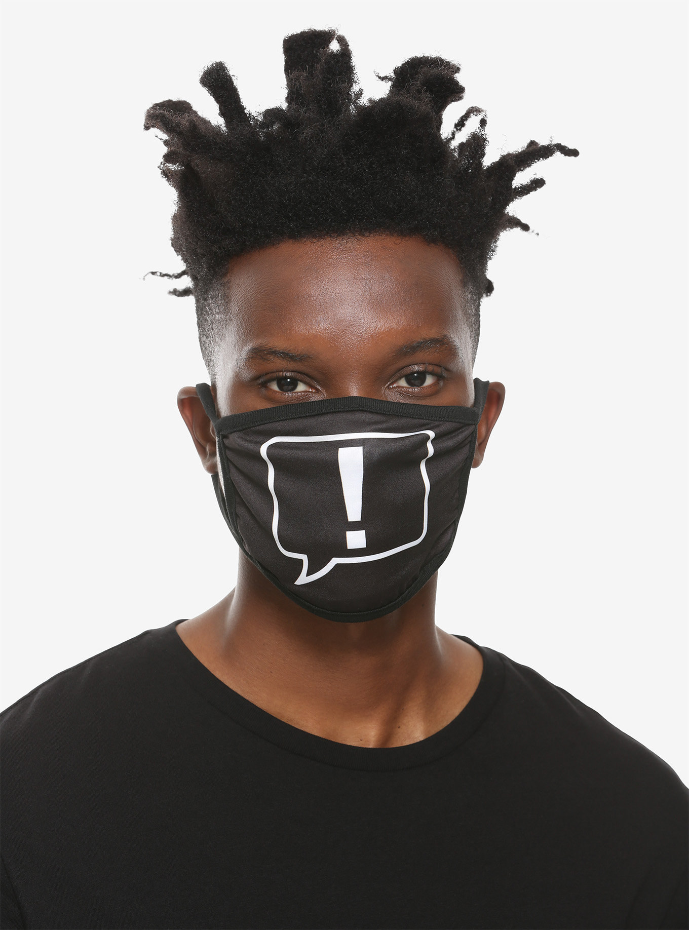 Model wearing black mask with white exclamation mark in center