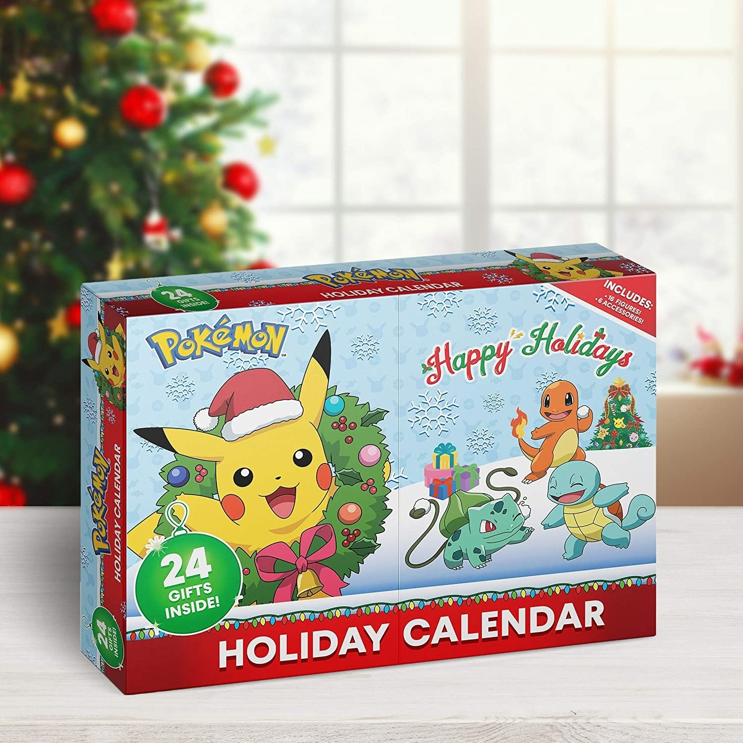 the holiday calendar box with pikachu wearing a santa hat inside a wreath on one side and happy holidays written on the other with squirtle, charmander, and bulbasaur