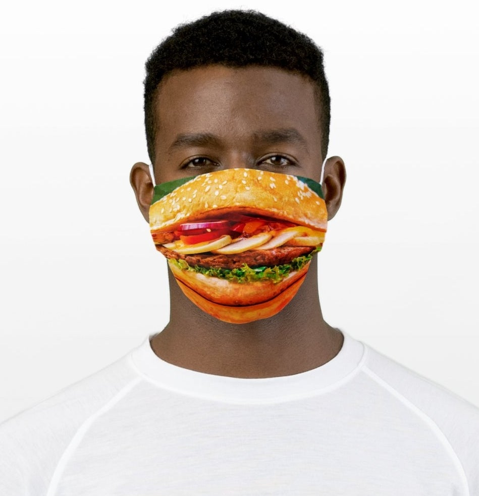 Realistic hamburger printed mask