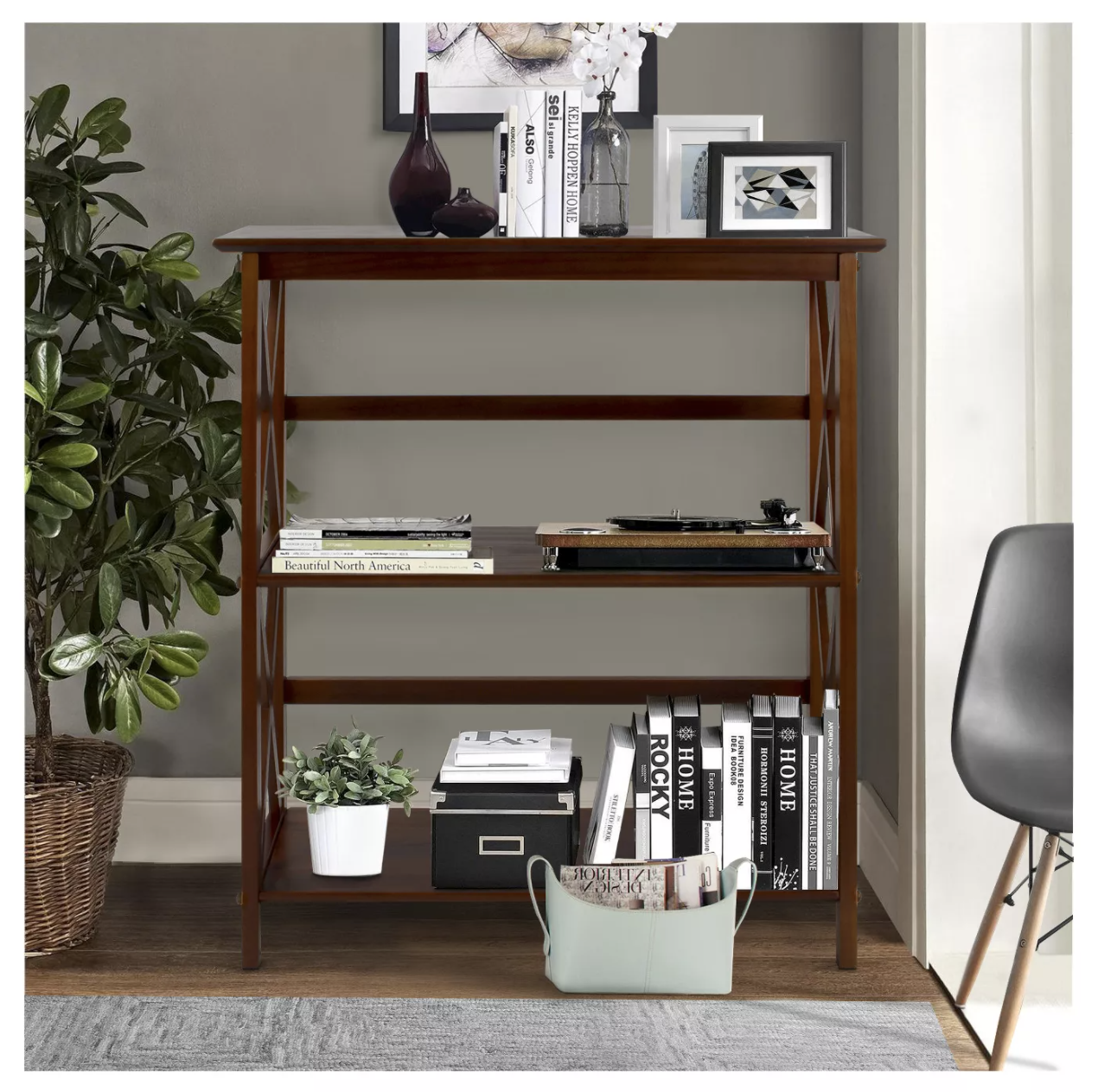 A basic book shelf with three tiers