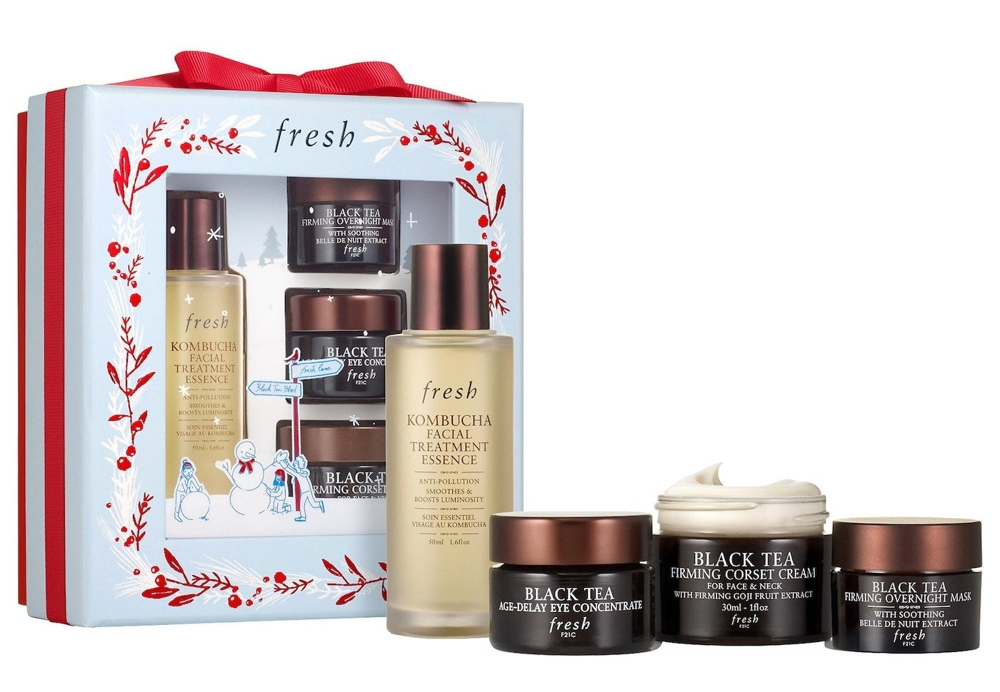 The products and holiday-themed packaging