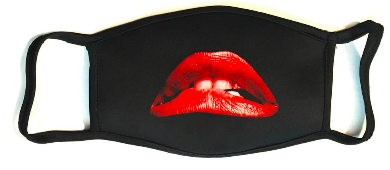 Black mask with red lips