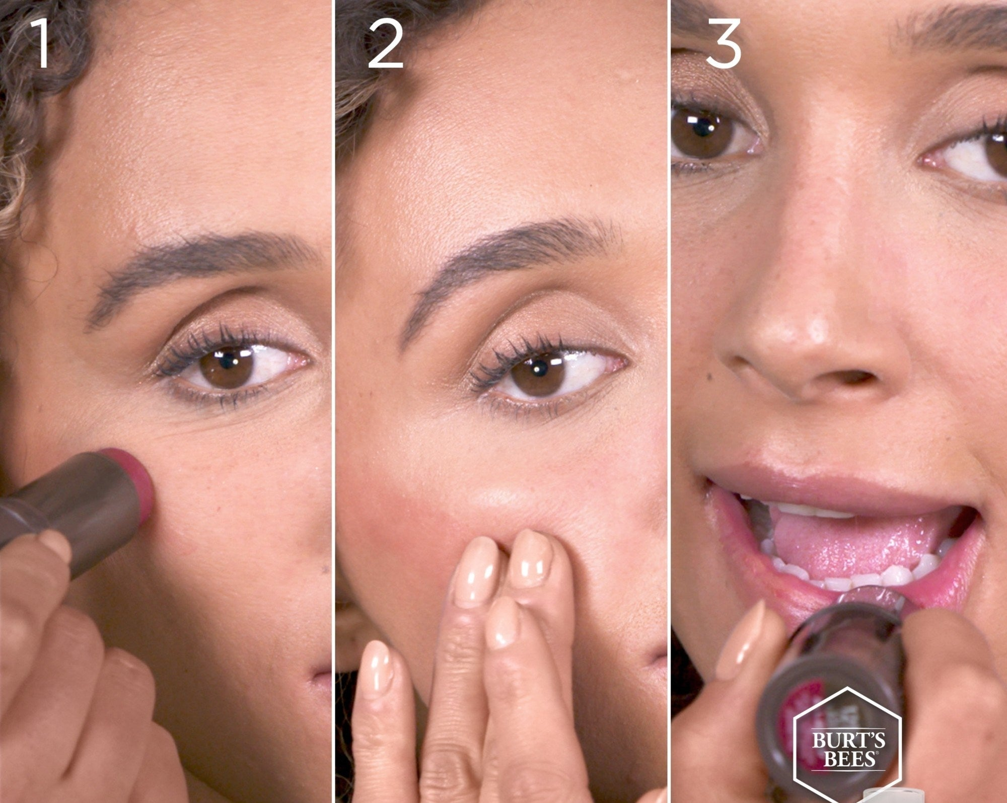 Model using the stick to apply as both lipstick and blush