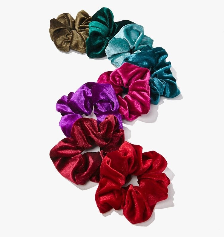 The scrunchies in reds, pinks, blues, and greens
