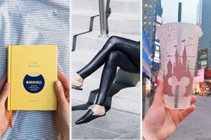 to the left: morning journal, middle: faux leather leggings, to the right: a disney cold cup