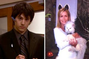 Jan's assitant hunter on the left, and angela dressed as a cat holding her cat sprinkles on the right