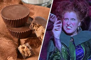 """On the right, a stack of peanut butter cups, and on the right, Bette Midler as Winnie in """"Hocus Pocus"""""""
