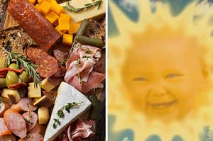 "On the left, various meats and cheeses on a platter, and on the right, the Sun Baby from ""Teletubbies"" smiles"