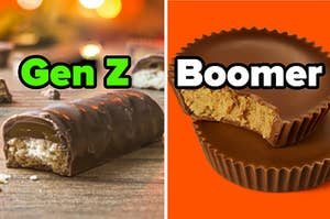 """A Twix bar is on the left labeled """"Gen Z"""" with a Reese's Peanut Butter Cup on the right labeled """"Boomer"""""""