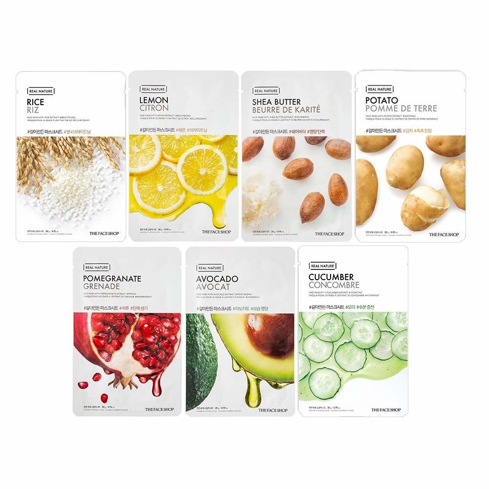 Sheets masks in rice, lemon, shea butter, potato, pomegranate, avocado, cucumber flavours.