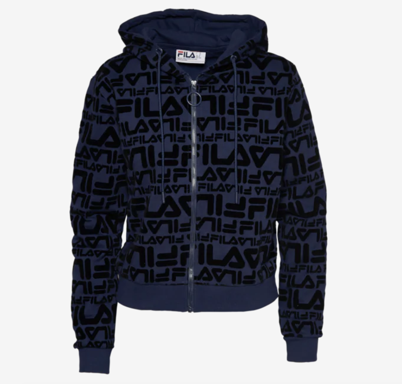 The navy hoodies with the word Fila printed all over it in black