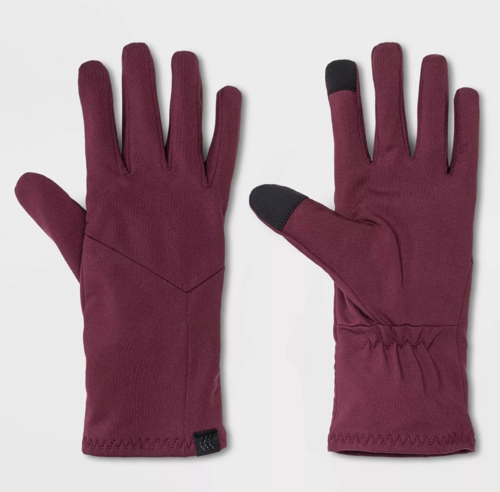 Maroon gloves with black touch screen friendly tips on index and thumb