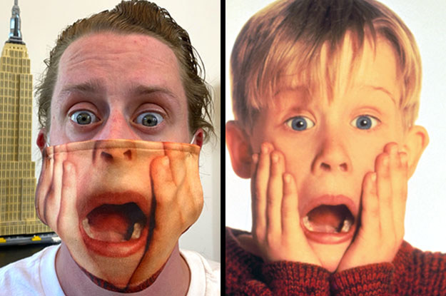 Macaulay Culkin wearing a face mask with the hands around the face from Home Alone