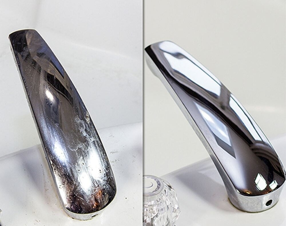A before and after on faucet