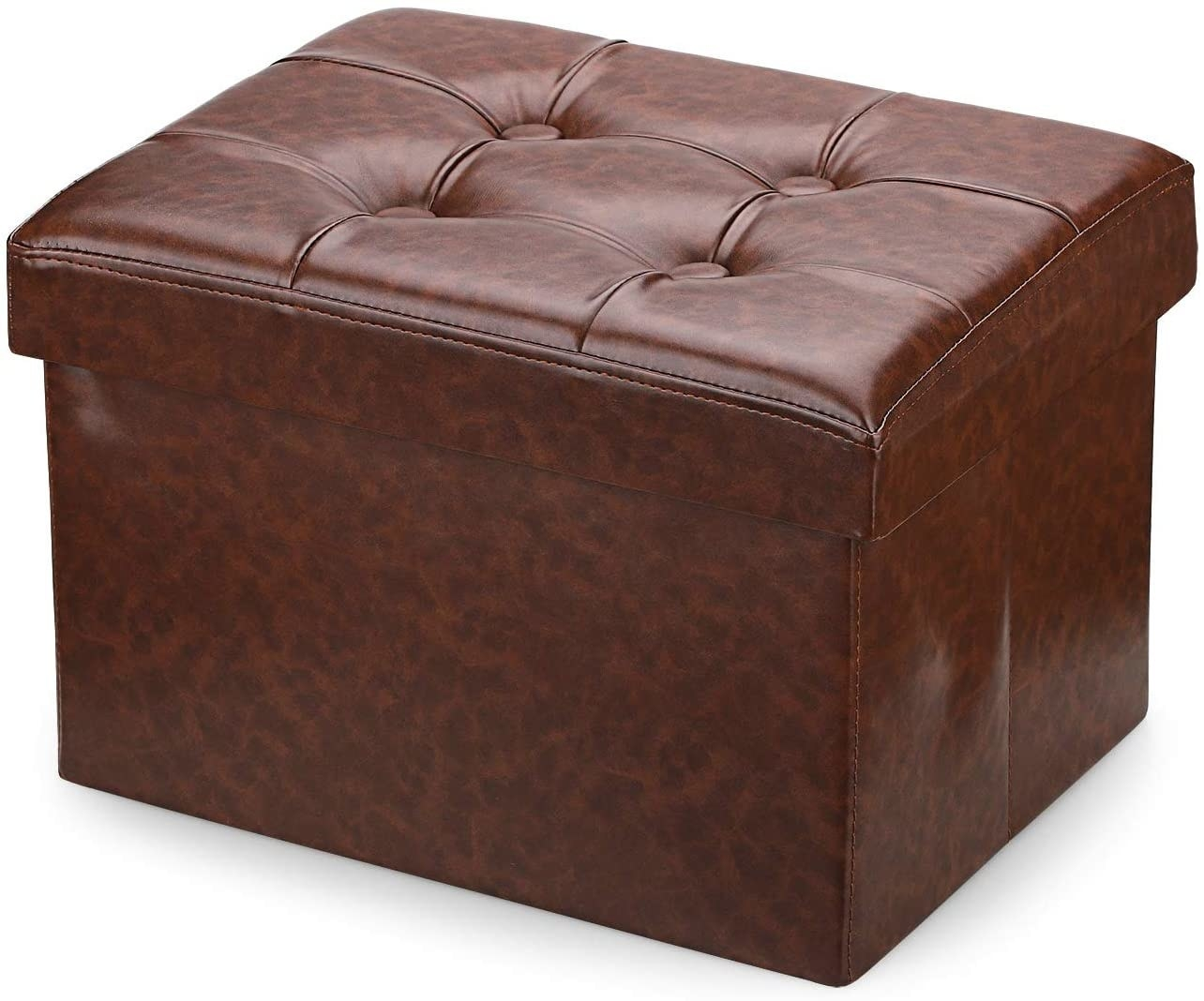 The square shaped ottoman in faux brown leather