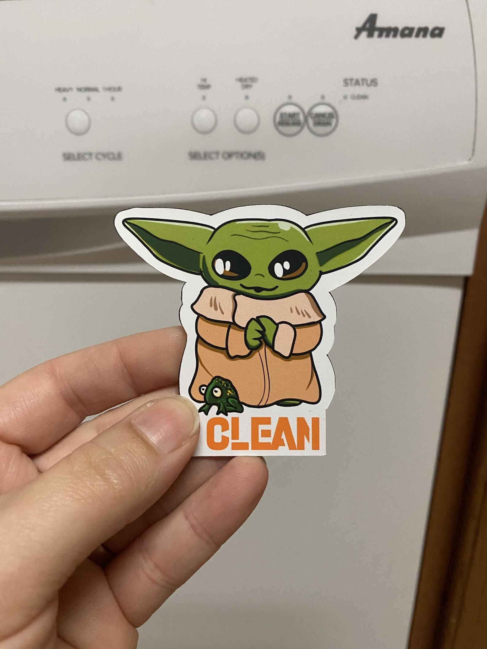 """Baby Yoda magnet that says """"clean"""""""