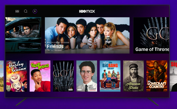 Screenshot of HBO Max movie and TV options