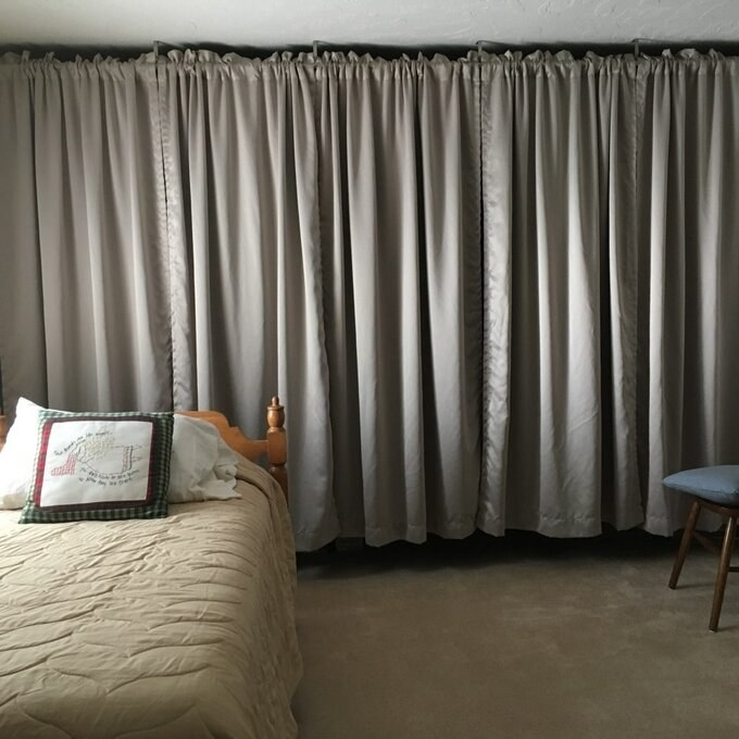 The gray curtain panel