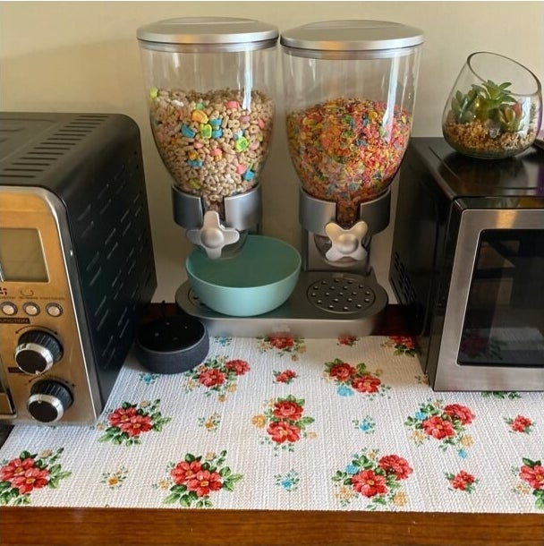 The silver cereal dispenser