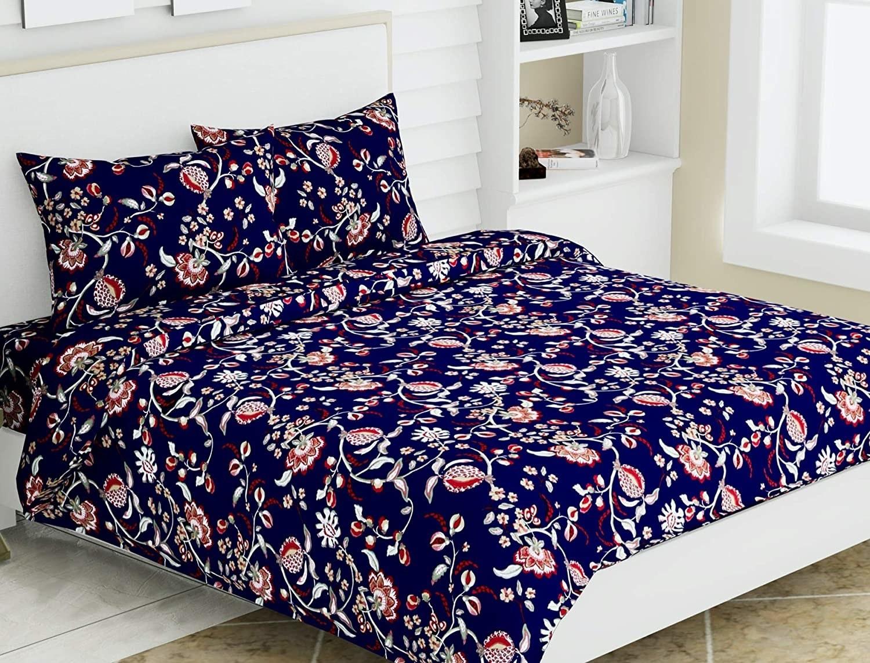 A navy floral bedsheet