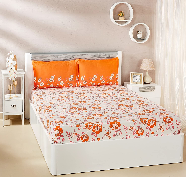 An orange and white bedsheet