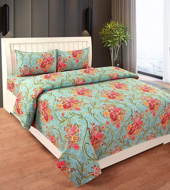 A floral green bedsheet
