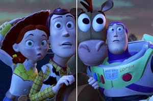 Jessie, Woody, Bullseye, and Buzz with shocked expressions on their faces