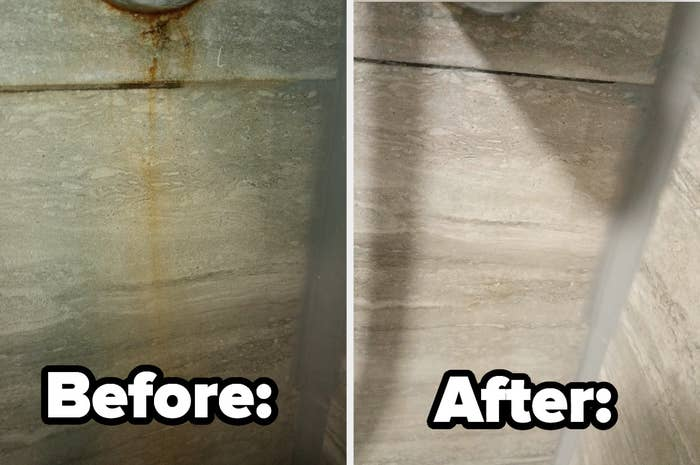 Before and after photos of a discolored wall cleaned by The Pink Stuff