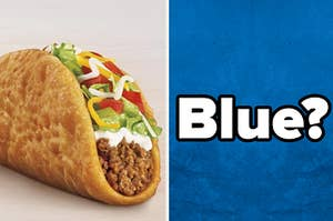 An image of a taco bell chalupa next to a blue image